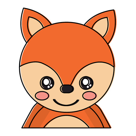 Cute portrait fox animal baby vector illustration. Illustration