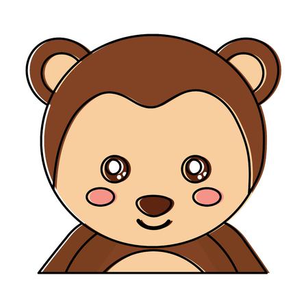 귀여운 초상화 원숭이, 동물 아기, 벡터 일러스트 레이션 일러스트