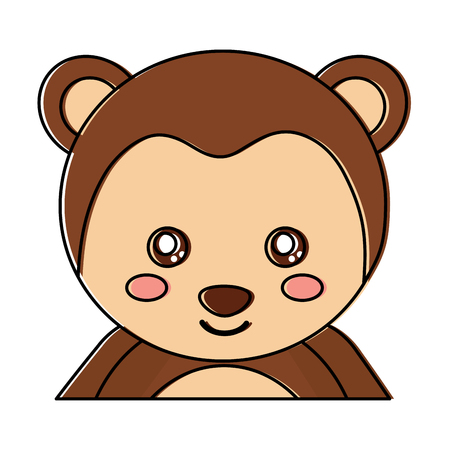 Cute portrait monkey, animal baby, vector illustration