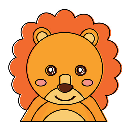 Cute portrait of a baby lion, animal vector illustration