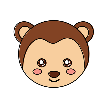 원숭이 귀여운 동물 아이콘 이미지입니다. 벡터 일러스트 레이 션 디자인.