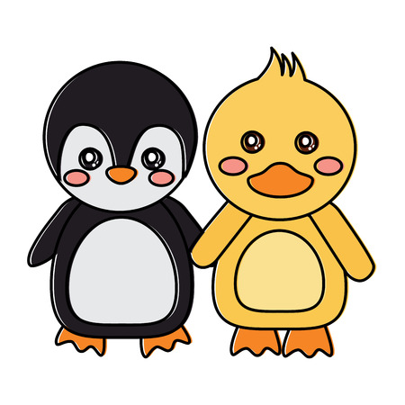 Penguin and duck holding hands, cute animals icon, image vector illustration design Ilustrace