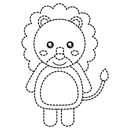 lion cute animal icon image vector illustration design  black dotted line
