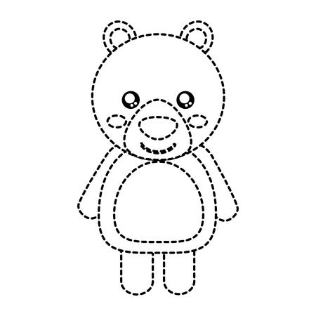 bear cute animal icon image vector illustration design  black dotted line