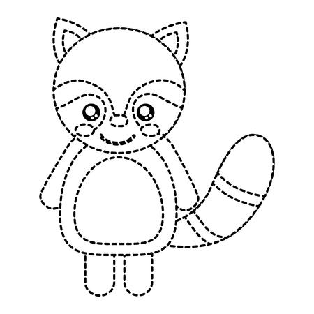 너구리 귀여운 동물 아이콘 이미지입니다. 벡터 일러스트 레이 션 디자인 검은 점선.