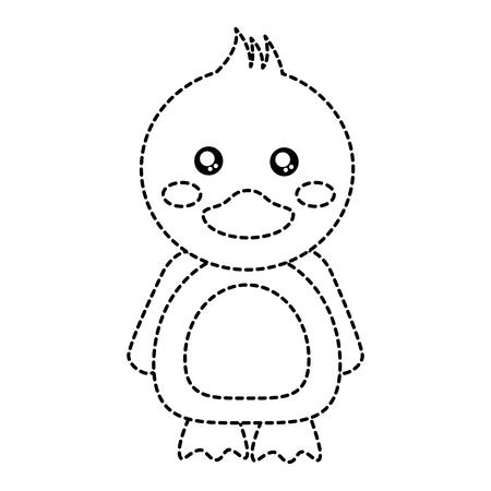 Duck cute animal icon. Vector illustration design black dotted line. Ilustrace