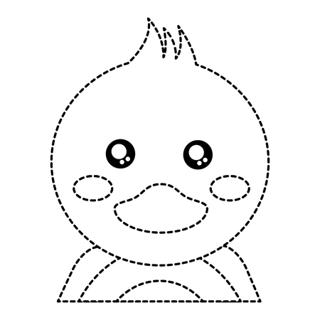 Duck cute animal icon image. Vector illustration design black dotted line. Ilustrace