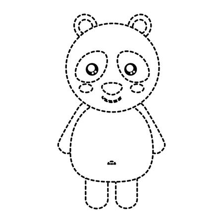 panda cute animal icon image vector illustration design  black dotted line