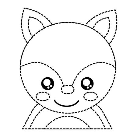 Fox cute animal icon image. Vector illustration design black dotted line. Illustration