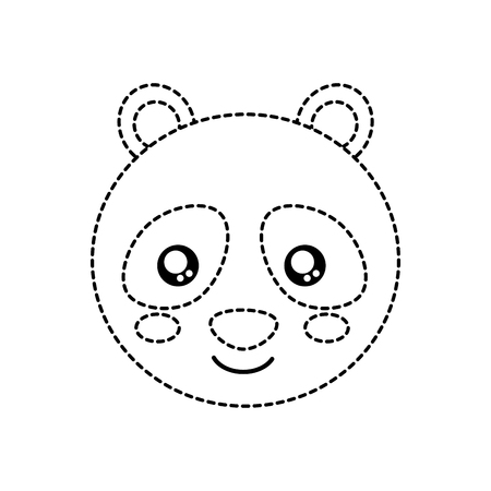 Panda cute animal icon image. Vector illustration design black dotted line.
