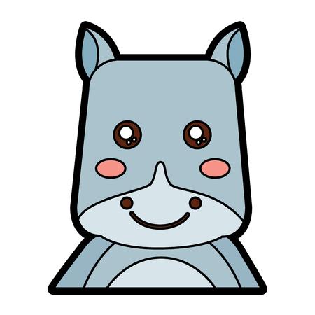 코뿔소 귀여운 동물 아이콘 이미지 벡터 일러스트 레이 션 디자인