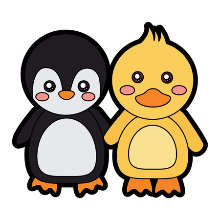 penguin duck holding hands cute animals icon image vector illustration design