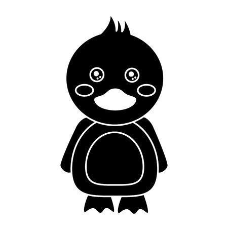 かわいい動物アヒル立っている漫画野生動物ベクトルイラストピクトグラムデザイン