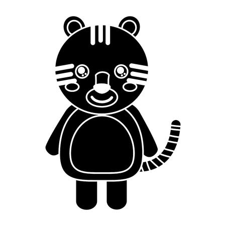 cute animal tiger standing cartoon wildlife vector illustration pictogram design