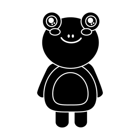 cute animal frog standing cartoon wildlife vector illustration pictogram design Ilustrace