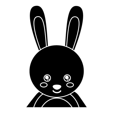 Cute portrait rabbit animal baby with close eyes vector illustration pictogram design