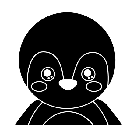 Cute portrait penguin animal baby with close eyes vector illustration pictogram design