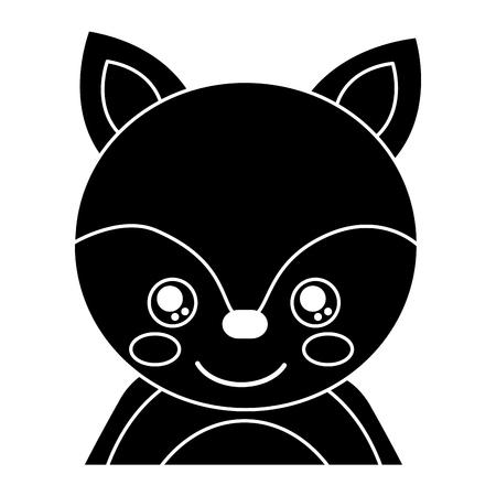 目を閉じたかわいいポートレートキツネ動物の赤ちゃんベクトルイラストピクトグラムデザイン
