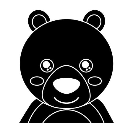 かわいいポートレートクマ動物の赤ちゃんと目を閉じたベクトルイラストピクトグラムデザイン