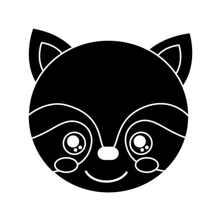 cute raccoon animal head image vector illustration pictogram design