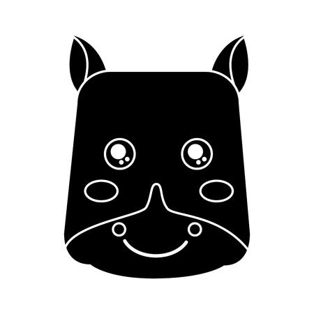 cute animal hippo head image vector illustration pictogram design