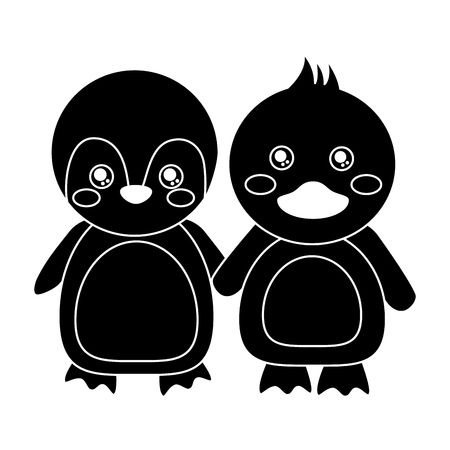 cute animals penguin and duck holding hands vector illustration pictogram design
