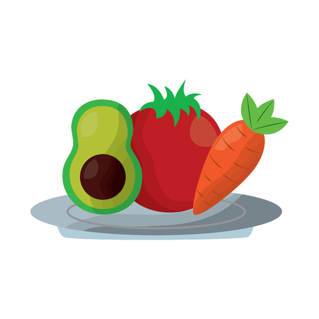 avocado tomato and carrot food in plate vector illustration Illustration