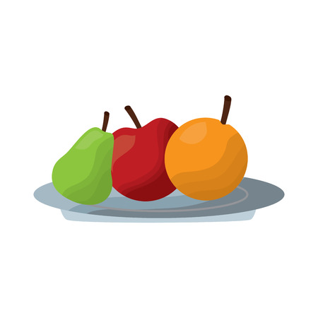 fruits apple pear and orange fresh in plate vector illustration