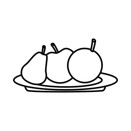 과일 사과 배와 오렌지 접시 벡터 일러스트 레이 션에 신선한