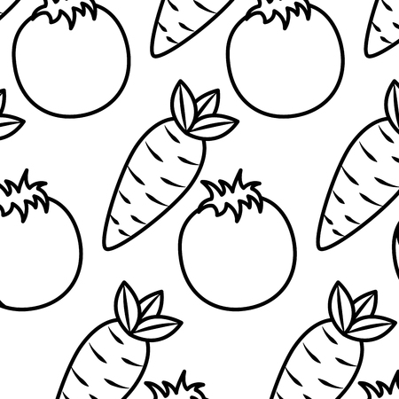 tomato and carrot vegetables fresh seamless pattern vector illustration