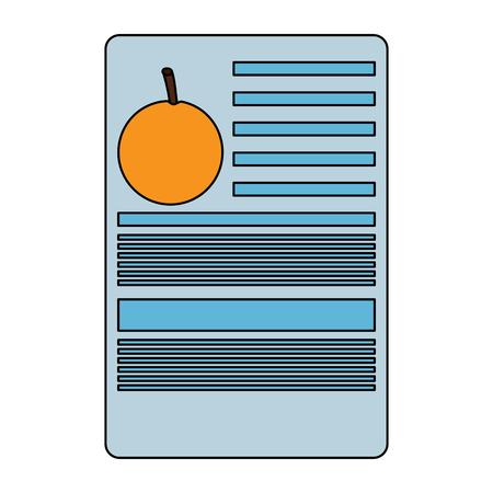 Orange Information Dokument Obst Symbol Bild Vektor Illustration Design Standard-Bild - 93444517