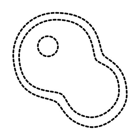 쇠고기 스테이크 원시 아이콘 이미지 벡터 일러스트 디자인 검은 점선
