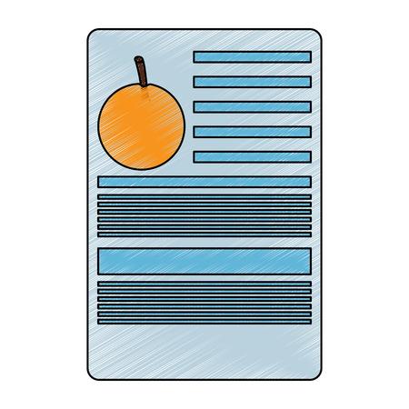 Orange Information Dokument Obst Symbol Bild Vektor Illustration Design Standard-Bild - 93444421