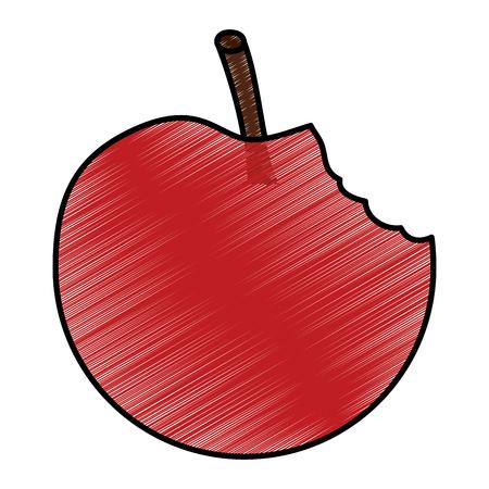 Apple bitten fruit icon image vector illustration design Illustration