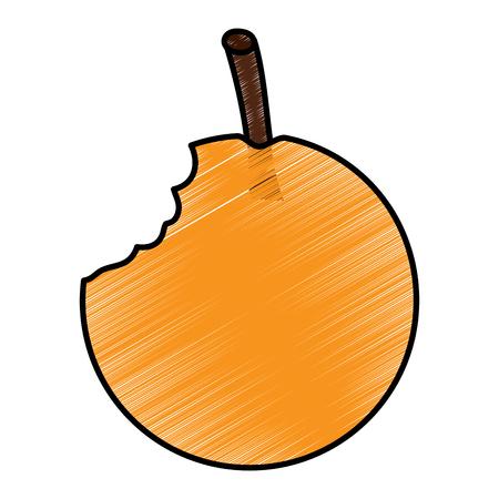 Orange bitten fruit icon image vector illustration design
