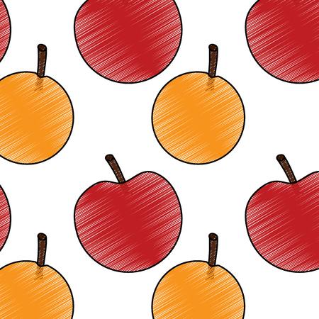 사과 오렌지 과일 패턴 이미지 벡터 일러스트 디자인 일러스트