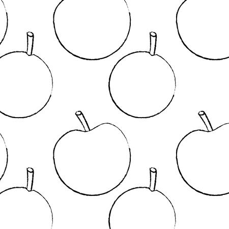 apple and orange fruit seamless pattern vector illustration sketch design