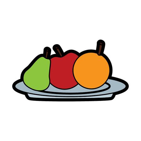 Fresh Fruits of apple, pear and orange in plate vector illustration. Illustration