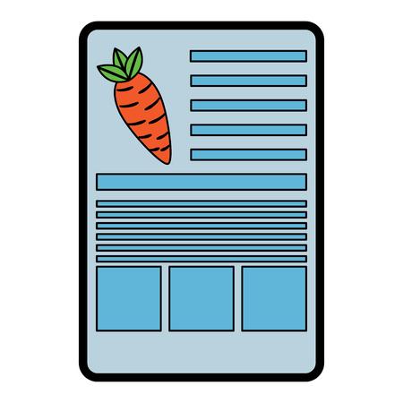 Carrot nutrition facts label template vector illustration Illustration