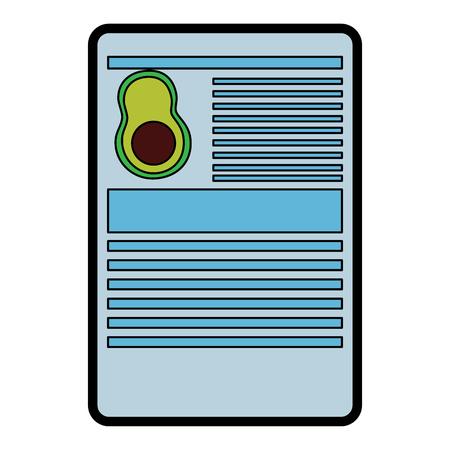 Avocado nutrition facts label template vector illustration