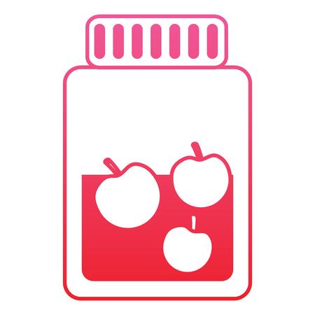 Glass bottle apple fruit juice vector illustration red line design
