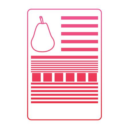 梨栄養事実ラベルテンプレートベクトルイラスト赤い線のデザイン