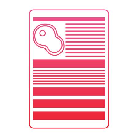 Steak fillet nutrition facts label template vector illustration red line design