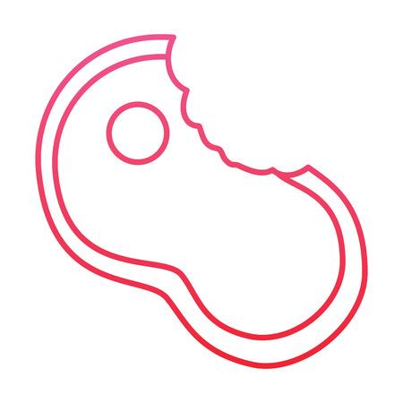 물린 된 스테이크 필렛 식사 음식 신선한 벡터 일러스트 빨간색 라인 디자인