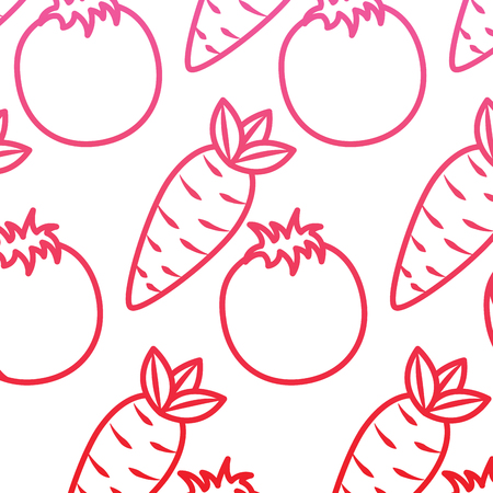 Tomato and carrot vegetables fresh seamless pattern vector illustration red line design Çizim