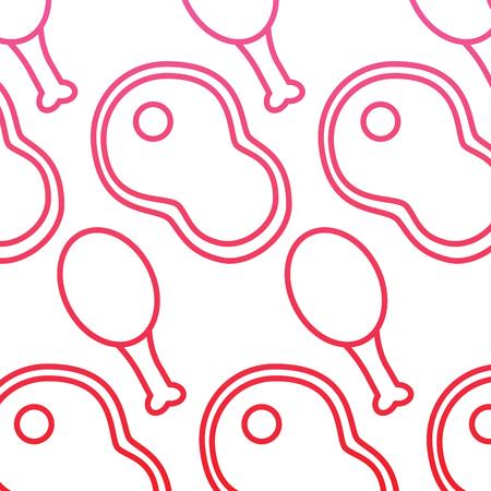 Fillet steak and chicken food seamless pattern vector illustration red line design Illustration