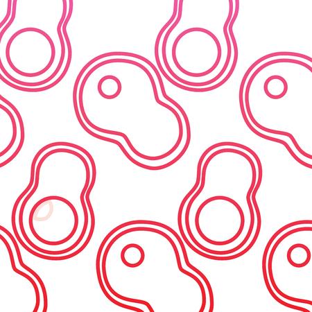 스테이크와 아보카도 음식 원활한 패턴 벡터 일러스트 빨간색 선 디자인