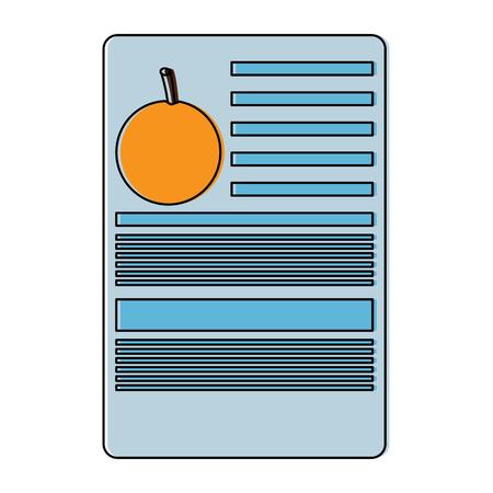 Orange nutrition facts label template vector illustration.