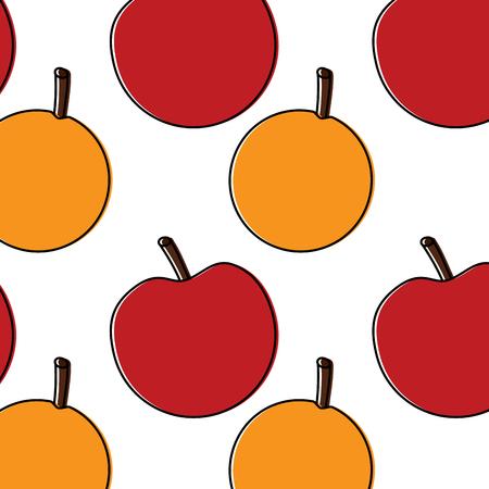 An apple orange fruit pattern image vector illustration design