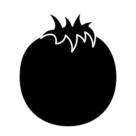 tomato whole  fruit icon image vector illustration design  black and white